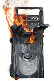 Burning computer case Royalty Free Stock Photos