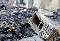 Burning computer, danger Stock Photography