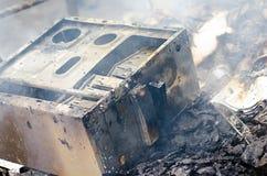 Burning computer, danger Stock Photo