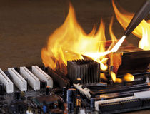 Burning computer main board Royalty Free Stock Images