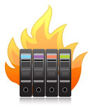 Burning computer server on white illustration Stock Photos