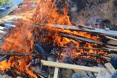 Burning of construction debris Stock Photo