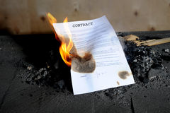 Burning  contract Stock Photo
