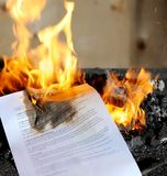 Burning  contract Royalty Free Stock Photos
