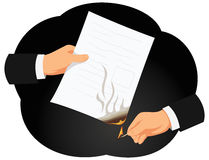 Burning contract Royalty Free Stock Image