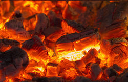 Burning crimson campfire Stock Photography