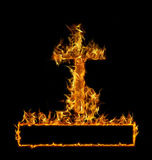 Burning Cross. With frame for text on black background Royalty Free Stock Images