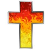 Burning Cross. Hell cross at metal frame with flames of life Royalty Free Stock Photos