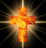Burning Cross of fire. Burning Cross of red and yellow fire against burning rays vector illustration