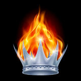 Burning crown. Burning silver crown  on black background Royalty Free Stock Images