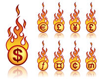 Burning currency. A set of a vector fireball icons with currency theme Stock Photos