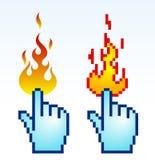 Burning cursor. Vector illustration of burning finger cursor, pixelart Royalty Free Stock Photo