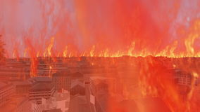 Burning 3d cityscape with fire flames stock video footage
