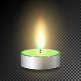 Burning 3D Realistic Dinner Candles. Dark Transparent Background. Burning 3D Realistic Dinner Candles. Dark Background Royalty Free Stock Image