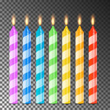 Burning 3D Realistic Dinner Candles Vector. Birthday Cake Candles. Burning Flames Of Wax Paraffin. Burning 3D Realistic Dinner Candles Vector. Birthday Cake Stock Images