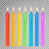 Burning 3D Realistic Dinner Candles Vector. Birthday Cake Candles. Burning Flames Of Wax Paraffin. Burning 3D Realistic Dinner Candles Vector. Birthday Cake Royalty Free Stock Photos