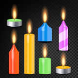 Burning 3D Realistic Dinner Candles Vector. Decorative Aromatic Tealight Candles Set. Isolated Tea Candle Sticks With Burning Flam. Es On Transparent Background Royalty Free Stock Image