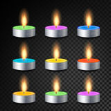 Burning 3D Realistic Dinner Candles Vector. Decorative Aromatic Tealight Candles Set. Isolated Tea Candle Sticks With Burning Flam. Es On Transparent Background Royalty Free Stock Images