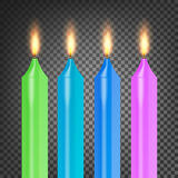 Burning 3D Realistic Dinner Candles Vector. Flame Realistic Set Isolated On Dark Background 3d Illustration. Burning 3D Realistic Dinner Candles Vector. Flame Royalty Free Stock Images