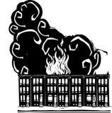Burning da casa da fileira Fotos de Stock Royalty Free