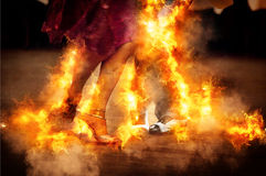Burning the dancefloor. A Tango couple dancing at a milonga Royalty Free Stock Images
