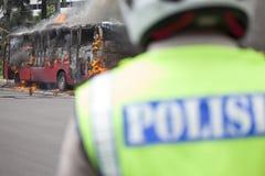 Burning de Busway Jakarta Imagen de archivo