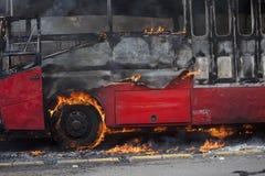 Burning de Busway Jakarta Fotos de archivo libres de regalías