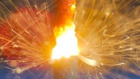 Burning de la bengala del fuego artificial Fotografía de archivo libre de regalías