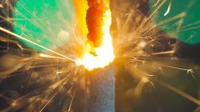 Burning de la bengala del fuego artificial Imágenes de archivo libres de regalías
