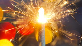 Burning de la bengala del fuego artificial Imagen de archivo libre de regalías
