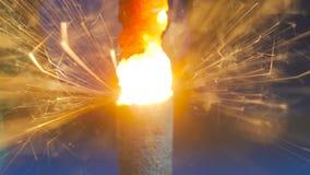 Burning de la bengala del fuego artificial Imagen de archivo