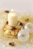 Burning de la vela de la Navidad Imagen de archivo libre de regalías
