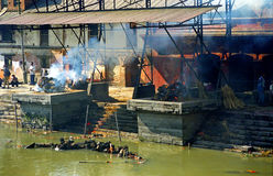 Burning deads, Pashupatinath, Nepal Royalty Free Stock Photography