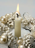 Burning decorative candle. Burning decorative candle- A photo on a white background Royalty Free Stock Photos