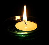 Burning decorative candle. Royalty Free Stock Image