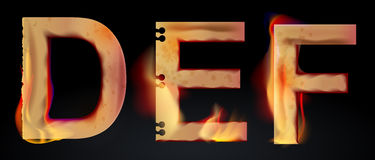 Burning DEF letters, burning alphabet. Burning DEF letters over dark,alphabet, illustration Stock Images