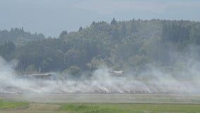 Burning del campo del terraplén almacen de video