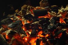 Burning del carbón de leña Foto de archivo libre de regalías