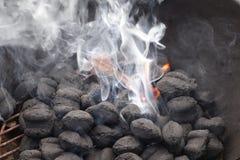 Burning del carbone di legna Fotografie Stock Libere da Diritti