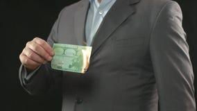 Burning del dinero Crisis financiera, quiebra, préstamo, inflación almacen de metraje de vídeo