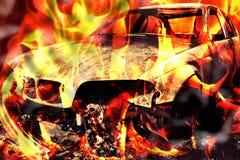 Burning del incendio provocado del fuego de la llama del coche Imagen de archivo libre de regalías