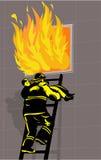 Burning del ragazzo di salvataggio del pompiere Fotografie Stock