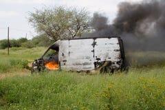 Burning dell'automobile Fotografie Stock