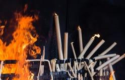 Burning della candela Fotografia Stock