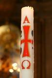 Burning della candela della chiesa Fotografie Stock Libere da Diritti