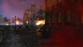 Burning destroyed city in ruins after World War 2