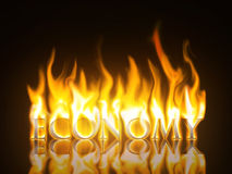 Burning di economia Fotografia Stock Libera da Diritti