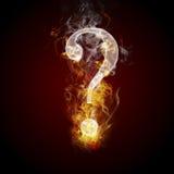 Burning di simbolo di domanda, fuoco illustrazione vettoriale
