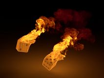 Burning dices Stock Photography