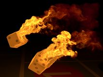Burning dices Royalty Free Stock Photos